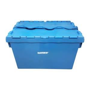 Caixa Plastica Elastobor com Tampa Basculante Azul 65 Litros