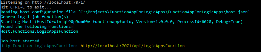 Writing Azure Functions for Logic Apps using Visual Studio