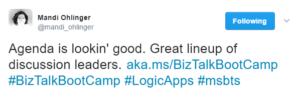 Mandi Ohlinger Following @mandi_onlinger Agenda is lookin' good. Great lineup of discussion leaders. aka.ms/BizTalkBootCamp #BizTalkBootCamp #LogicApps #msbts