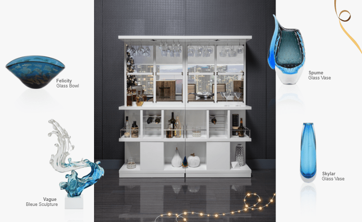 White bar, blue vases, blue bowl, and blue sculpture in collage setting by El Dorado Furniture