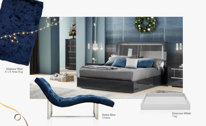 Gray bed, gray nightstand, white tray, blue chaise, gray chest of drawers, and blue rug in collage setting