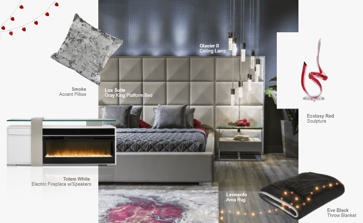 Gray bed, black throw blanket, white fireplace, gray accent pillow, ceiling lamp, multicolor area rug, and red sculpture in collage setting by El Dorado Furniture