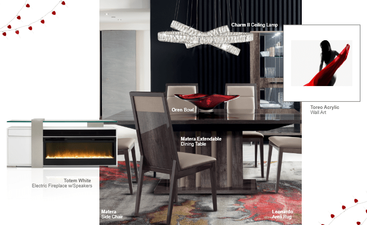 White fireplace, multicolor wall art, red bowl, brown dining chairs, brown dining table, and ceiling lamp in collage setting by El Dorado Furniture
