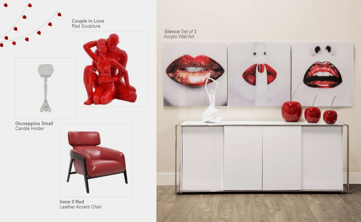 White buffet, multicolor wall art, red chair, candleholder, and red sculpture in collage setting by El Dorado Furniture