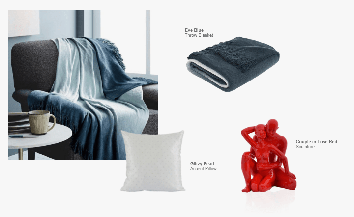 Blue throw blanket, red sculpture, and white accent pillow in collage setting by El Dorado Furniture