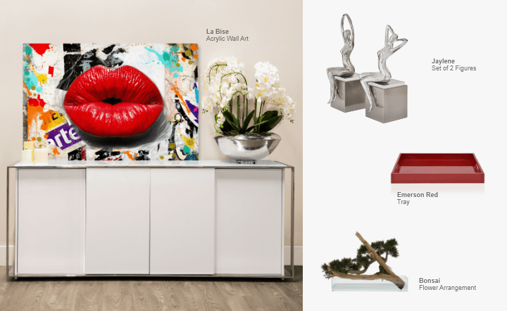 White buffet, flower arrangement, red tray, silver figures, and multicolor wall art in collage setting by El Dorado Furniture