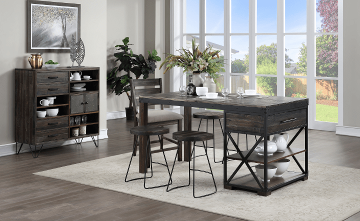 Wooden dining table with console table. El Dorado Furniture