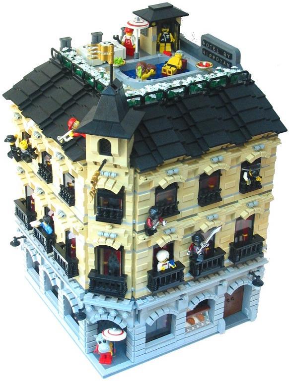 construye tejados con LEGO: Hotel con piscina