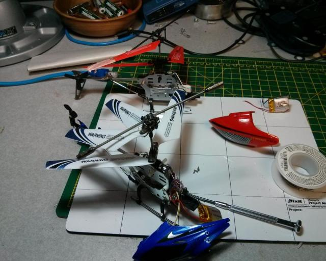 Transplanting a mini helicopter battery