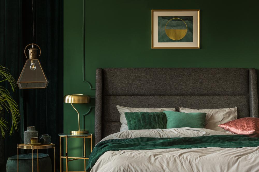 dormitor in tonuri de verde