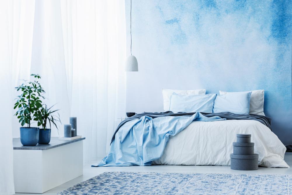 dormitor in nuante de albastru