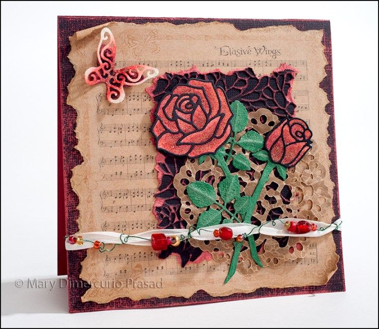 Roses, Beads, and Butterfly Card
