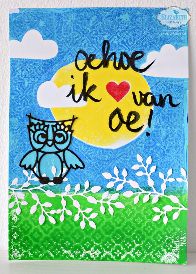 Marsha Valk | Elizabeth Craft Designs: Monoprinting with Embossing Folders - Owl Art Journal Gelli Print