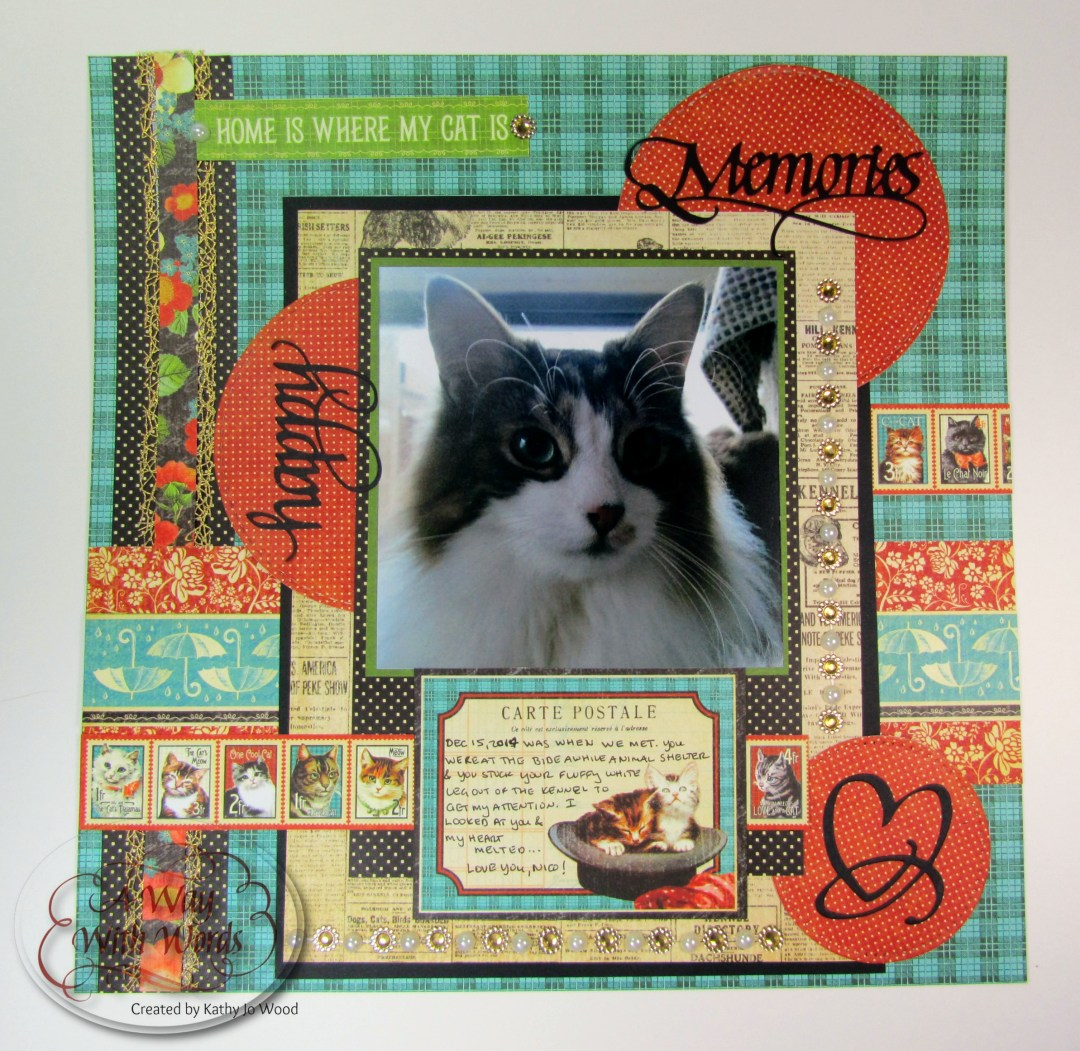 Elizabeth Craft Designs Graphic 45 Suzanne Cannon Way With Words Raining Cats and Dogs Scrapbook Layout Kathy Jo 1