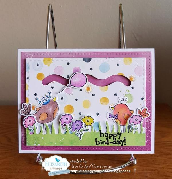 Designer Challenge Sliders & Spinners Bird-day card by Tina