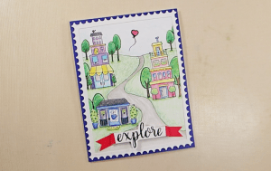 Row Houses Postage Stamp Card - Step 5