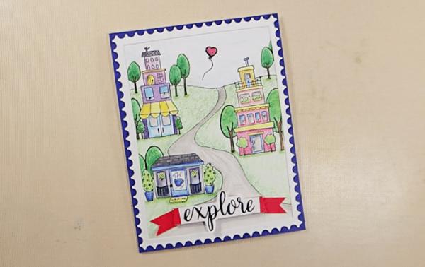 Row Houses Postage Stamp Card - Step 5