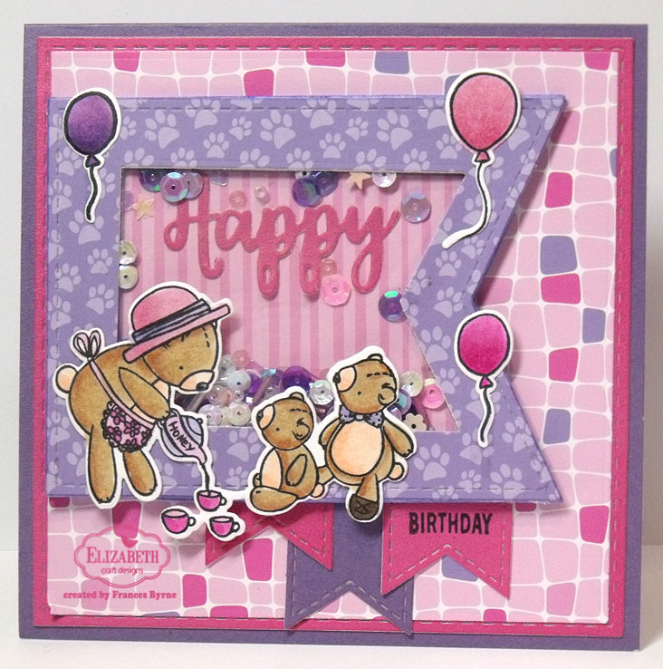Teddy Bear Picnic Birthday Shaker Card by Frances Byrne