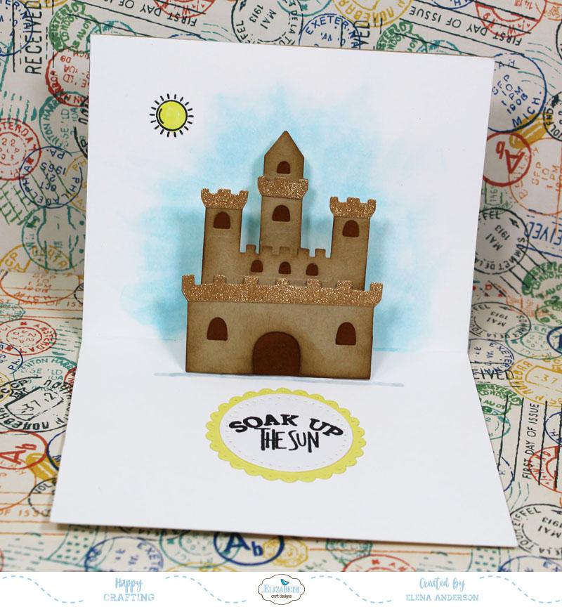 Summery Sand Castle Pop-Up Card Inside
