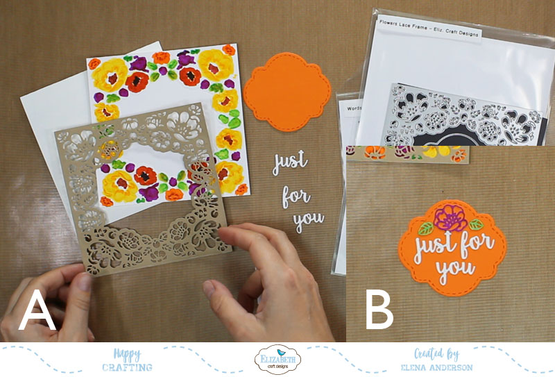 Fall Flower Lace Frame Card - Step 2