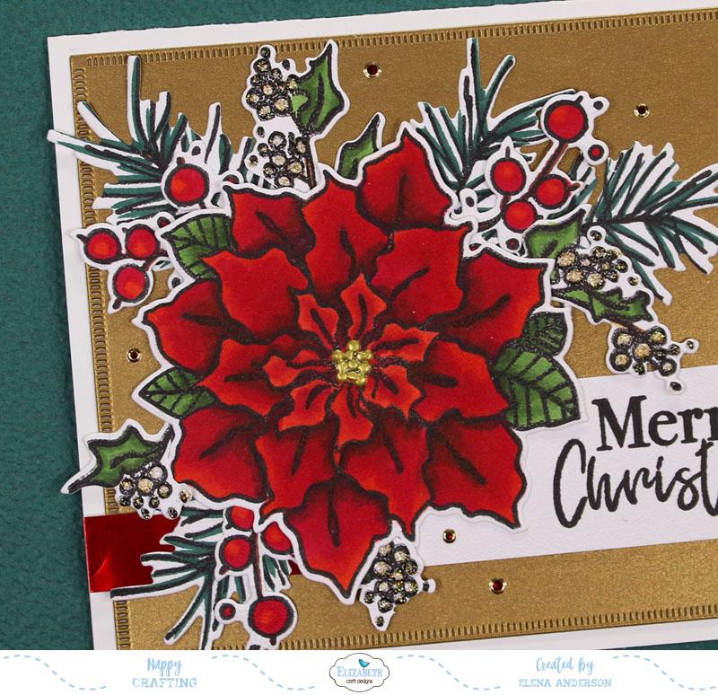 Classic Poinsettia Christmas Card - Detail