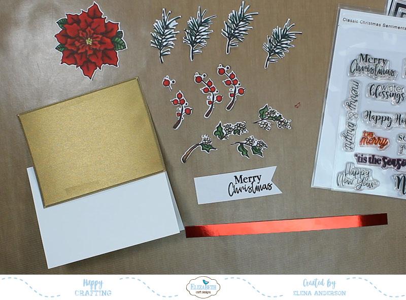 Classic Poinsettia Christmas Card - Step 3