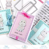 A Set Of Cute Hippo Baby Cards
