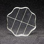 Clear Acrylic Block, 2.5 Round w/ Alignment Grid and Finger Grips - 878678000480