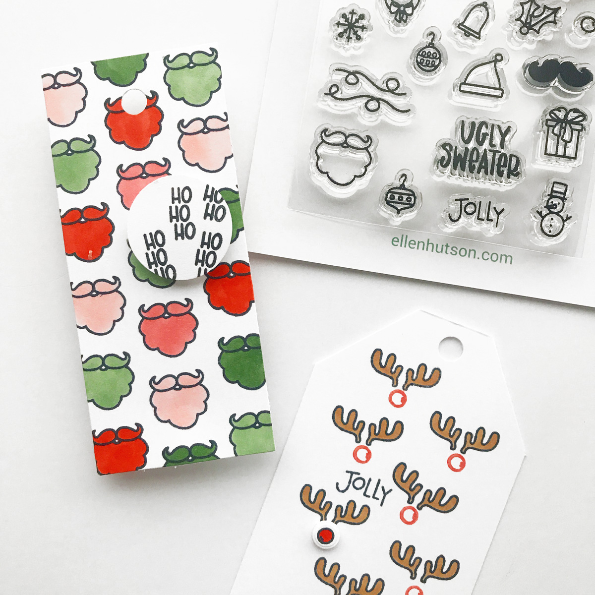 DIY Holiday Tags using Essentials by Ellen stamps