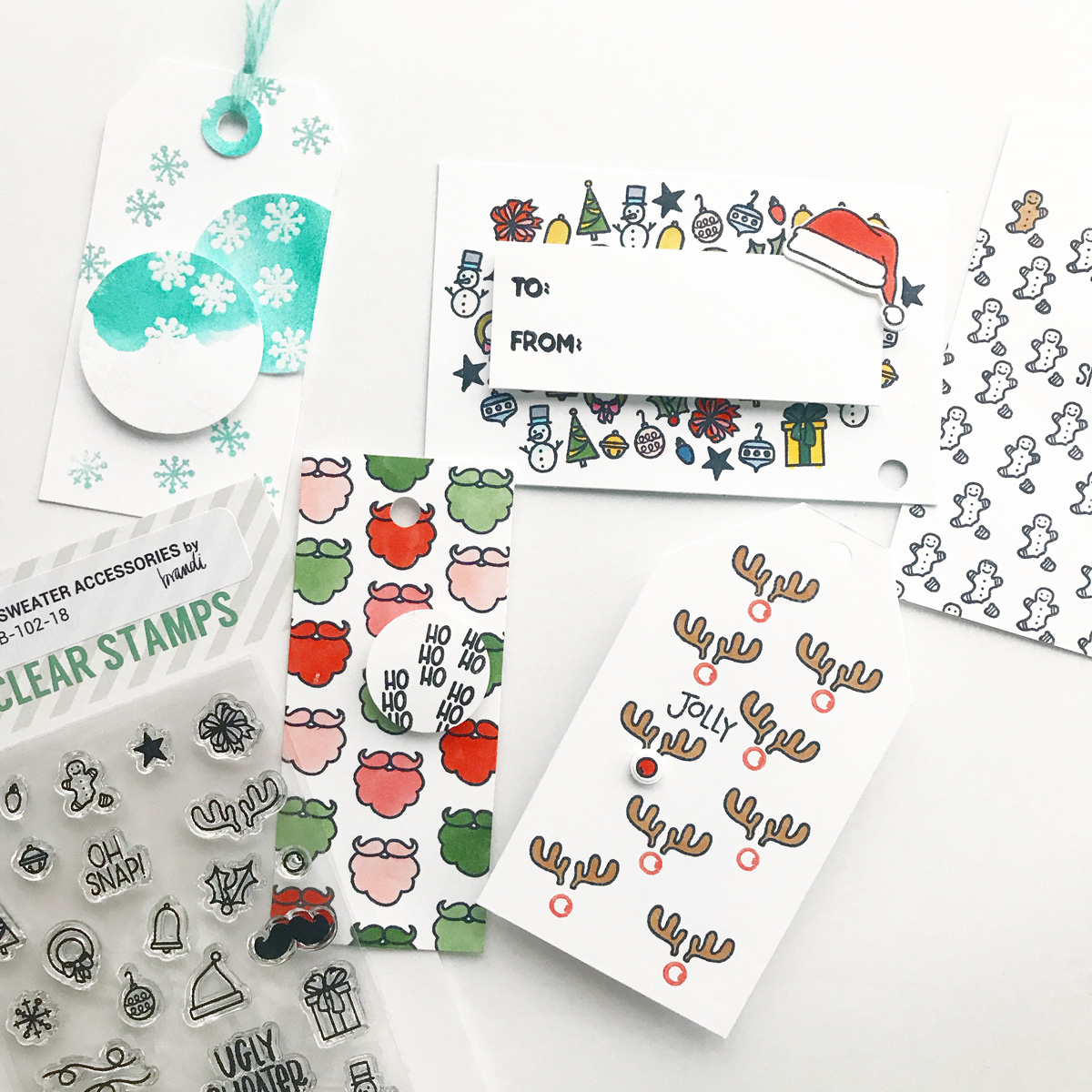 A collection of DIY Holiday Tags using Essentials by Ellen stamps designed by Brandi Kincaid