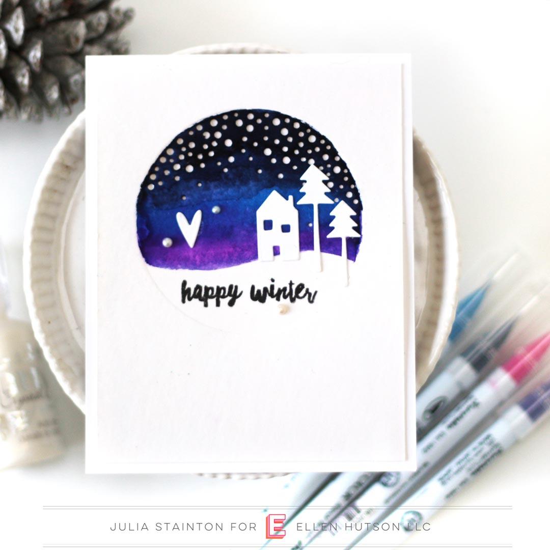 Essentials by Ellen Alpine Snowfall card by Julia Stainton
