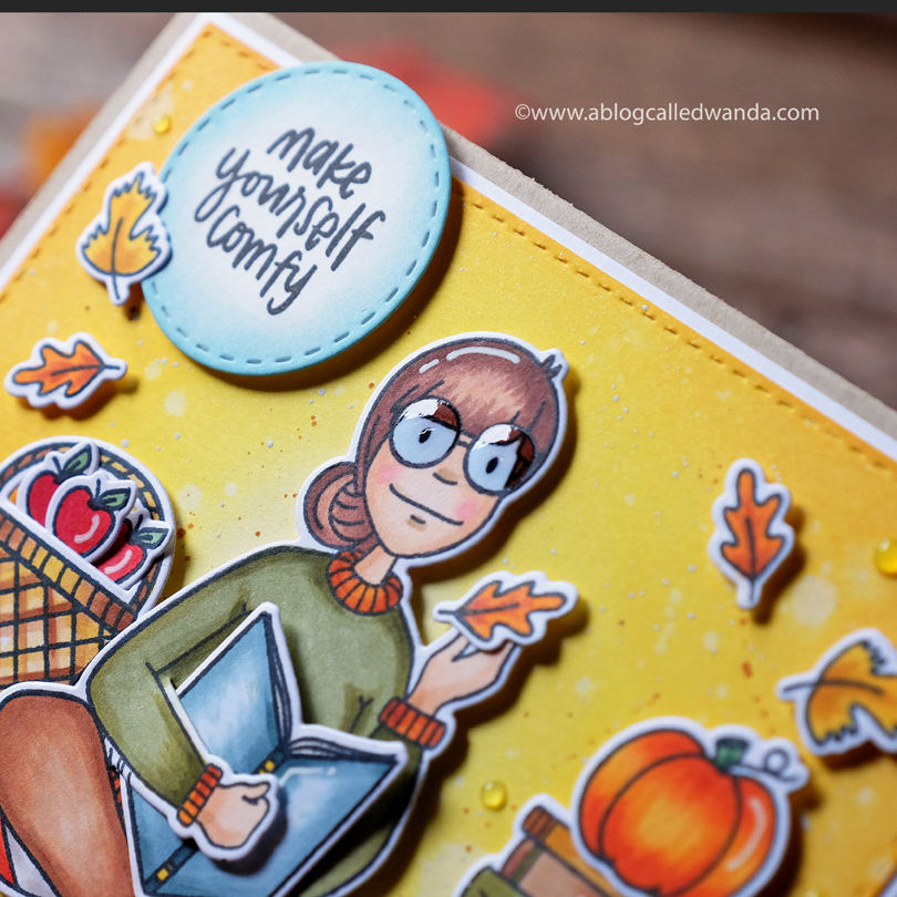 Essentials by Ellen Bookworm Lady card by Wanda Guess close up with Glossy Accents on glasses