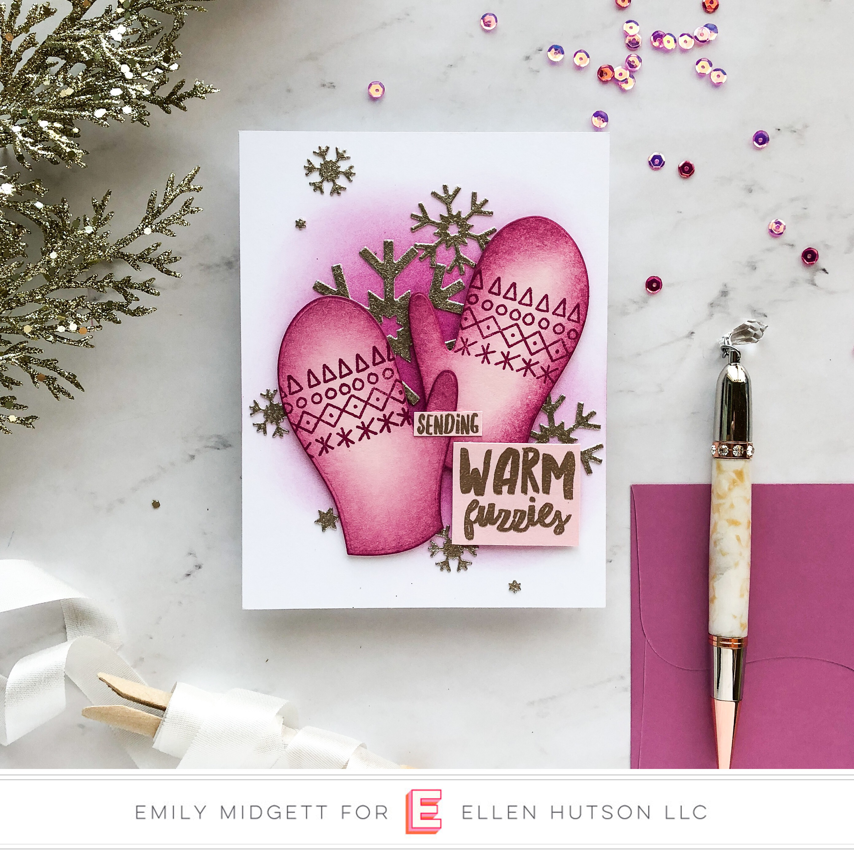 Essentials by Ellen Pop-Up Mitten card by Emily Midgett