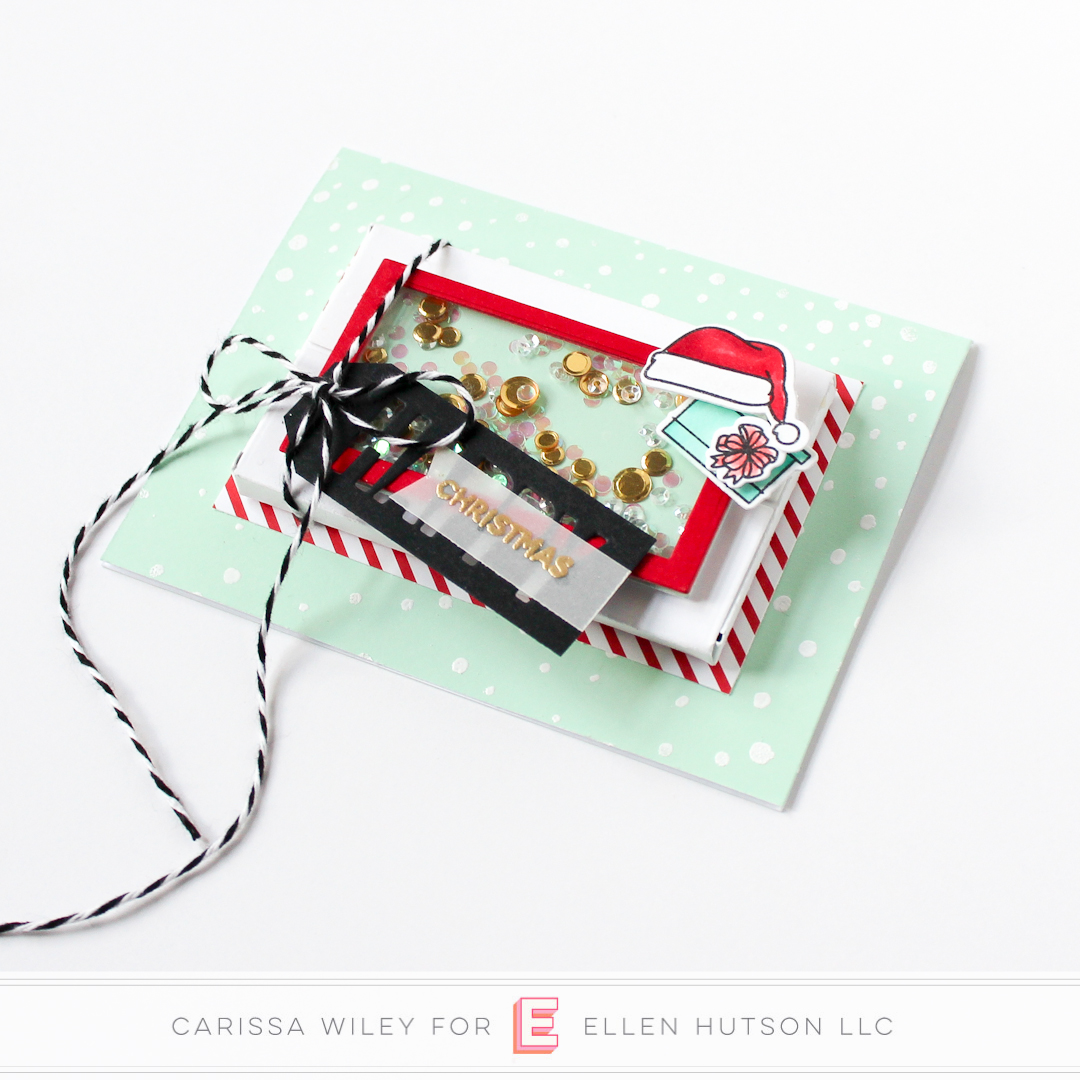 Christmas themed Essentials by Ellen Parcel Box shaker card