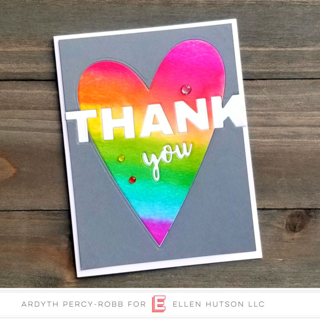 Inlaid die cut thank you card