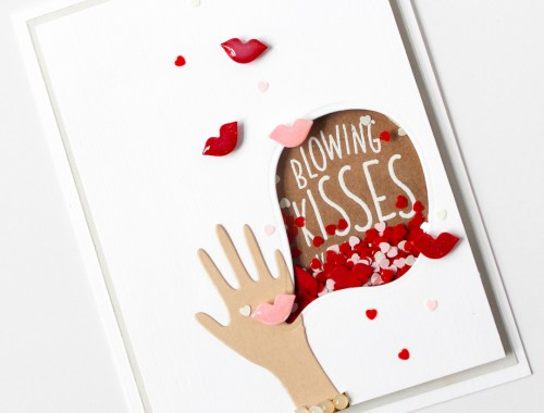 Blowing kisses high five shaker card
