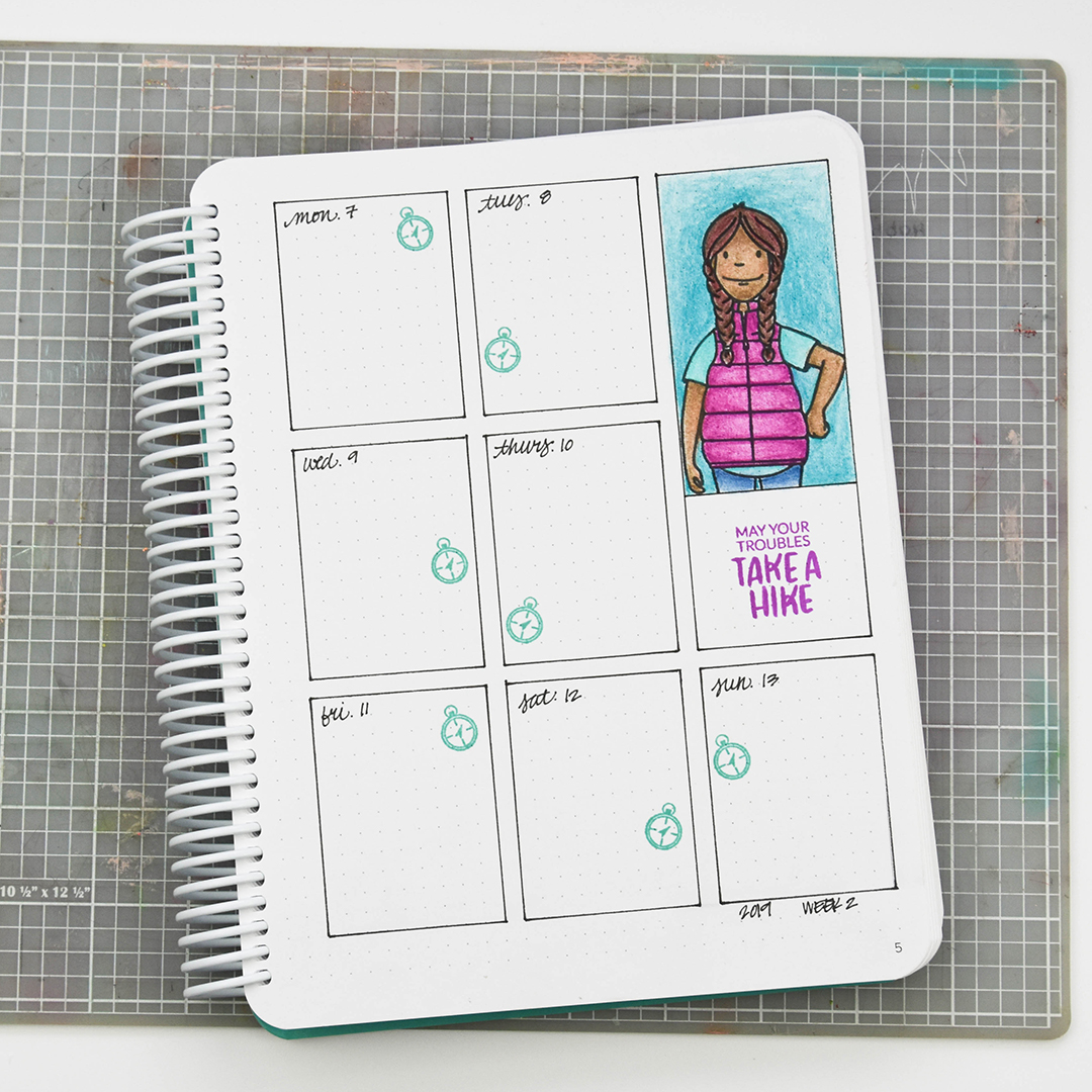 Woodsy Lady stamped in planner