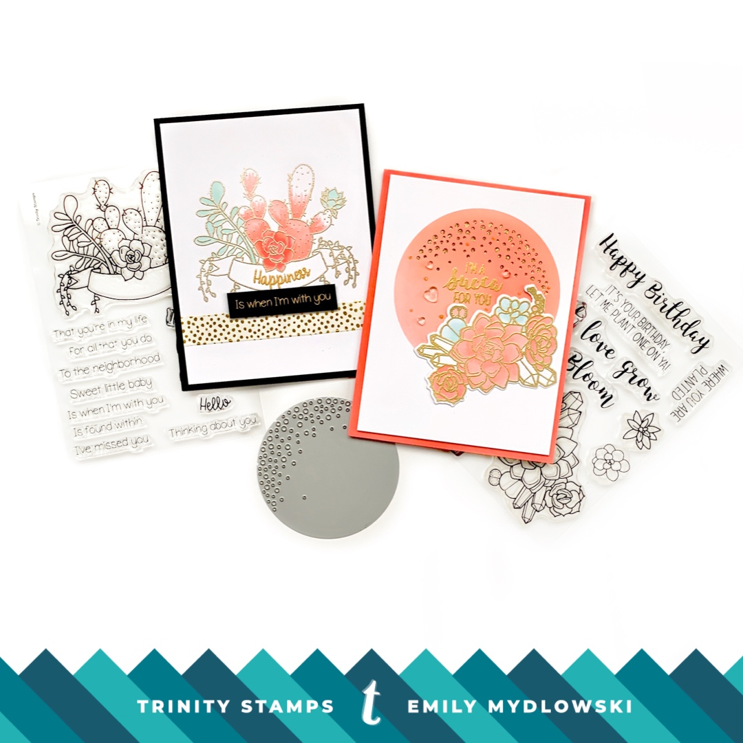 Pantone Living Coral cards with Trinity Stamps Succulent Banners and Let Love Grow