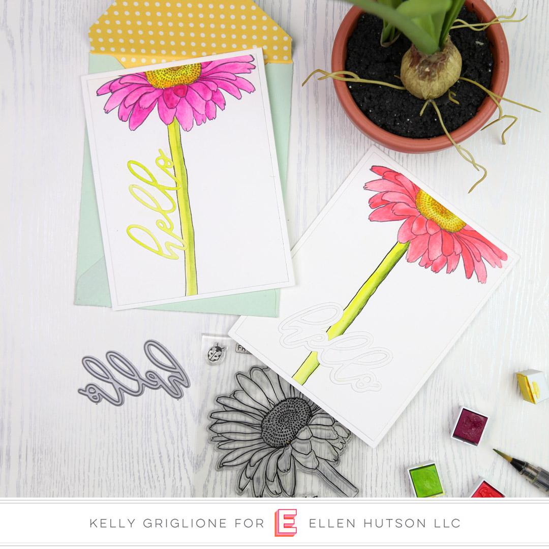 Essentials by Ellen Mondo Gerbera Daisy card by Kelly Griglione