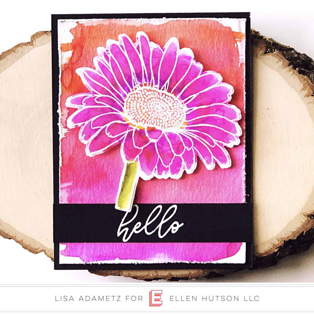 Essentials by Ellen Mondo Gerbera Daisy card by Lisa Adametz