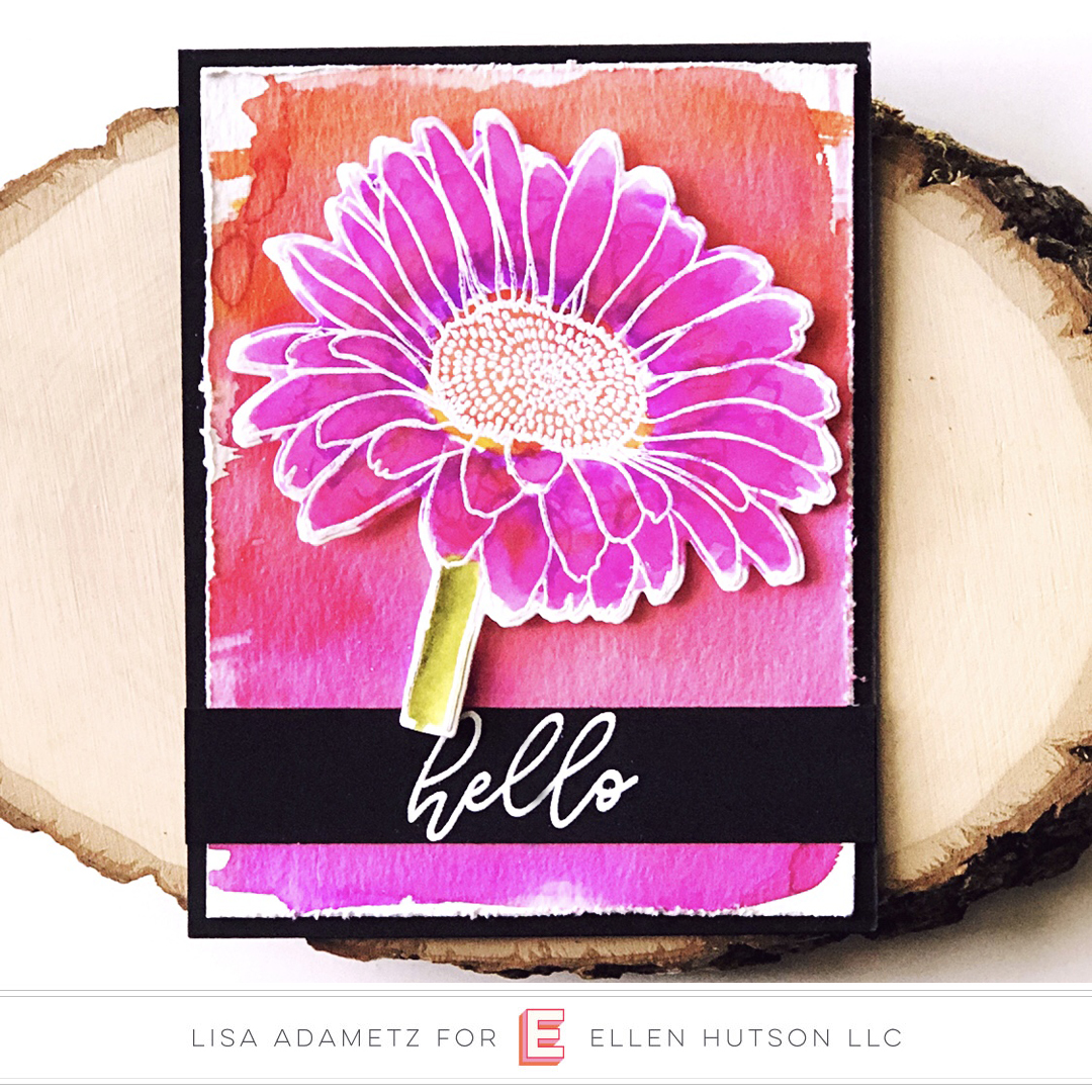 Essentials by Ellen Mondo Gerbera Daisy card by Lisa Adametz