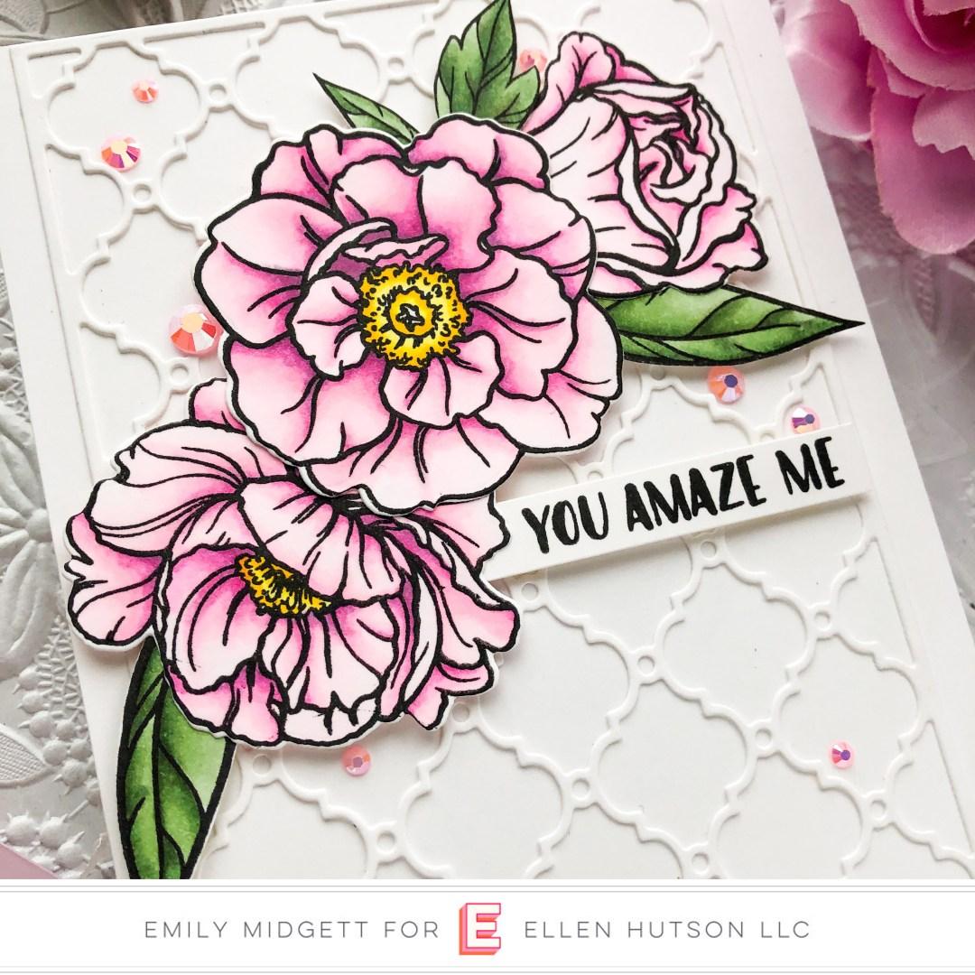 Paper Rose Studio Rose Peonies card by Emily Midgett