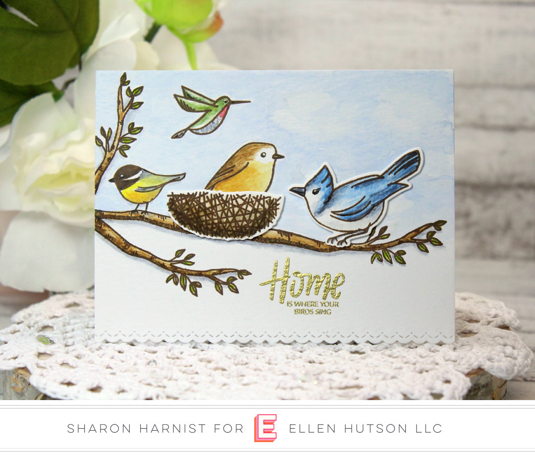 Essentials by Ellen Backyard Bird Friends card by Sharon Harnist