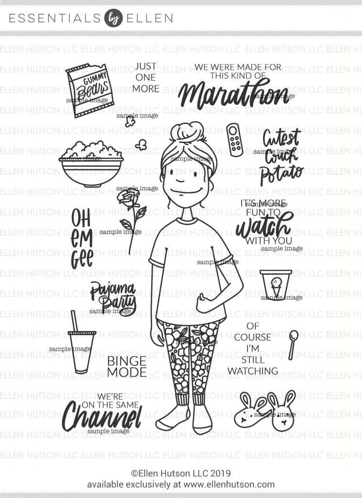 Essentials by Ellen Binge Watching Lady stamps