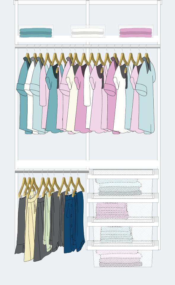 1. Si no sos de usar vestidos, pero sí muchas camisas, polleras y pantalones: