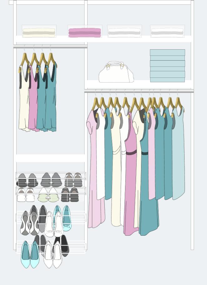 3. Si tenés muchos vestidos y tapados, tu placard puede ser así: