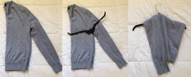 13. Para evitar marcas de percha en los hombros de prendas delicadas, colgalas de esta forma: