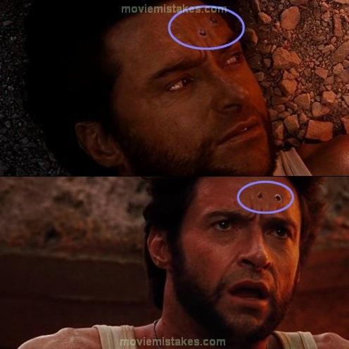 11. X-Men Orígenes: Wolverine, el agujero de las balas se corre de posición