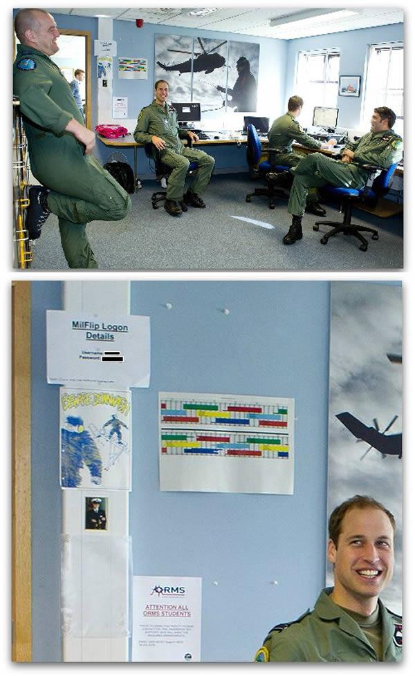 4. Una foto del príncipe William reveló la contraseña del Ministerio de Defensa del Reino Unido.