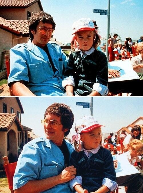 15. Steven Spielberg y Drew Barrymore en el set de E.T.